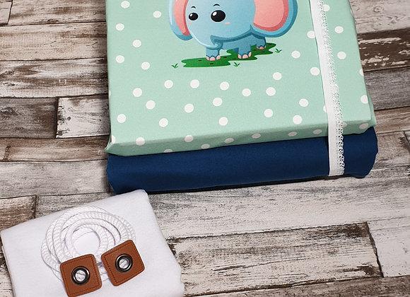 Stoffpaket Panel Elefant (blau)