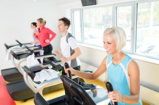A photo walking on a treadmill.