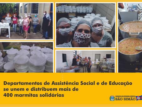 Gestão responsável - Departamentos de Assistência Social e de Educação se unem e distribuem mais de