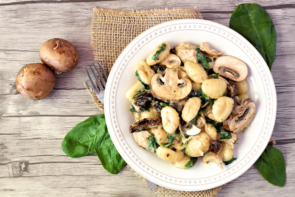 gnocchi with mushrooms and spinach
