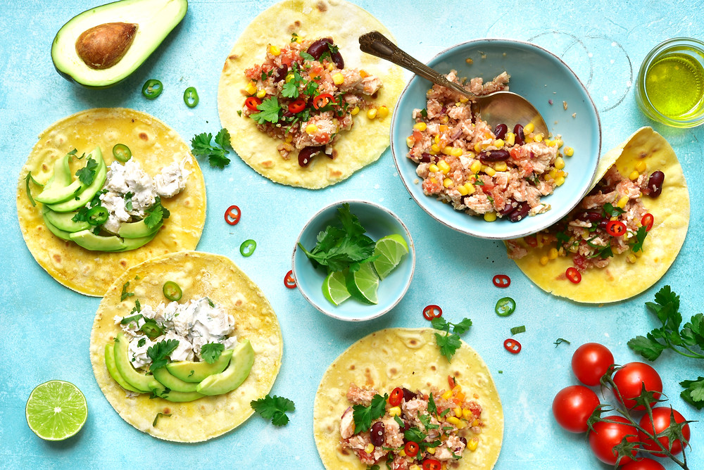 Tacos with chicken, corn, beans and quinoa