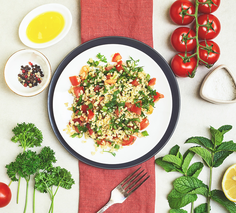 tabbouleh with quinoa, parsley, mint, tomatoes and onion.