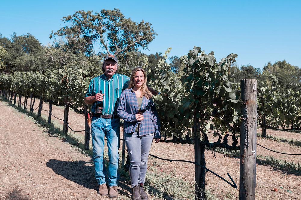 Ken Nerlove and daughter, Elise Nerlove Rutchick at their south Napa vineyard, Elkhorn Peak. Photo by Lyda Studios.