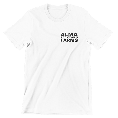 White T-Shirt with Small Black Logo