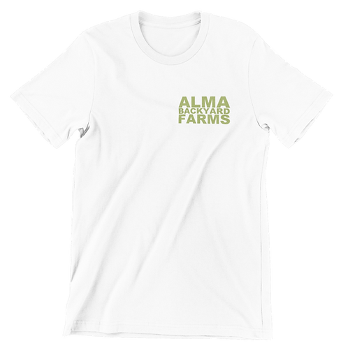 White T-Shirt with Small Green Logo