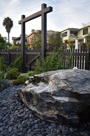 Entry Arbor and Cored Rock Water Feature