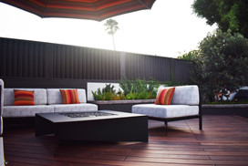 Fire Table and Patio Furniture on Deck