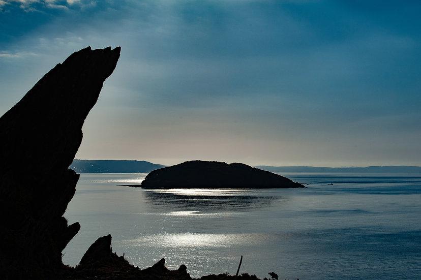Blue tones over Looe Island