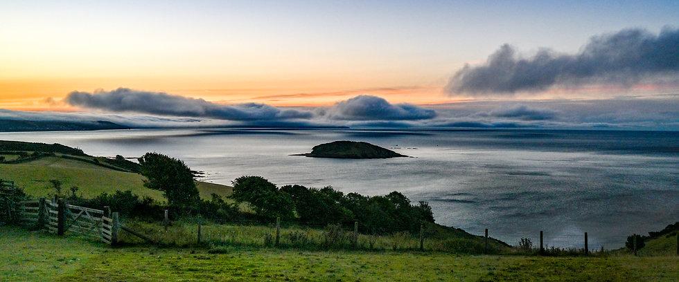 Looe Island Cloudy Sunrise - Panorama