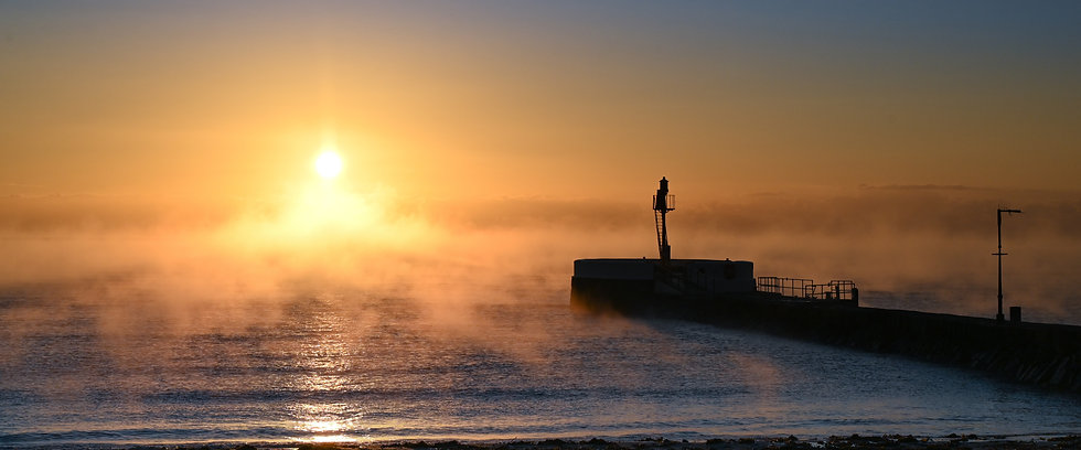 Misty morning by the pier - Panorama