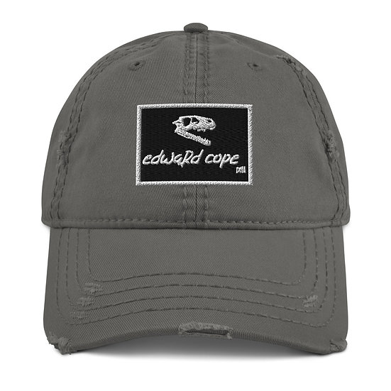 Boxed Distressed Dad Hat w/Skull Side (Black/White)