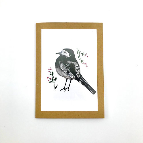 Pied Wagtail Floral Greeting Card