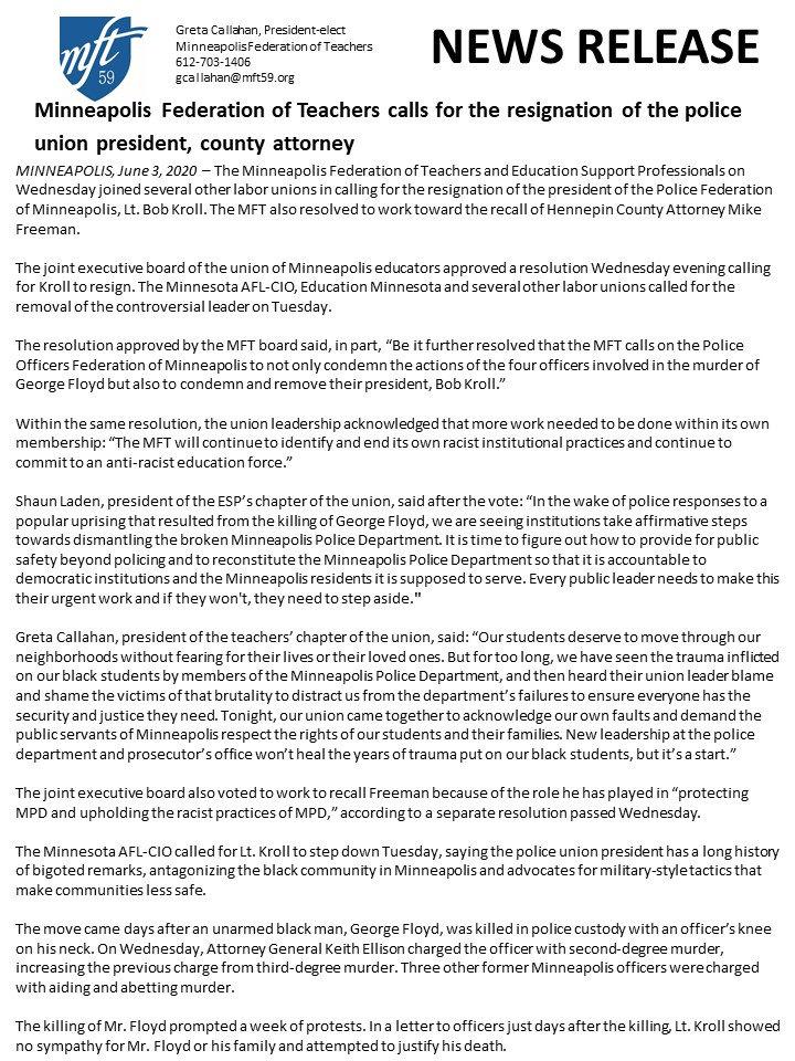 Press Release 6.3.2020 Bob Kroll and Mik