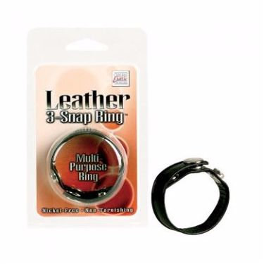 Black Leather 3 Snap Cock Ring