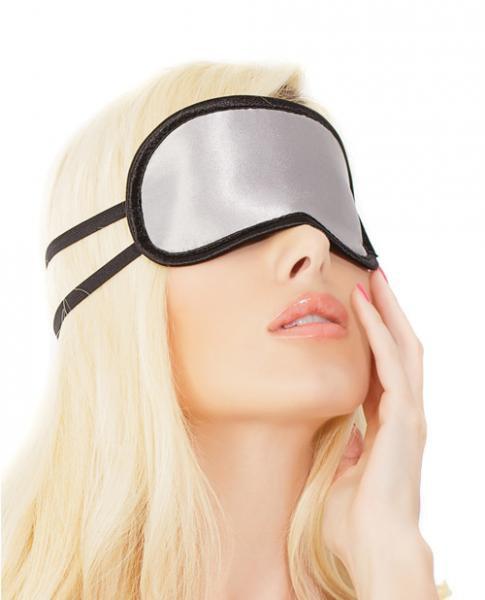 Satin Eye Mask Double Strap Silver Black