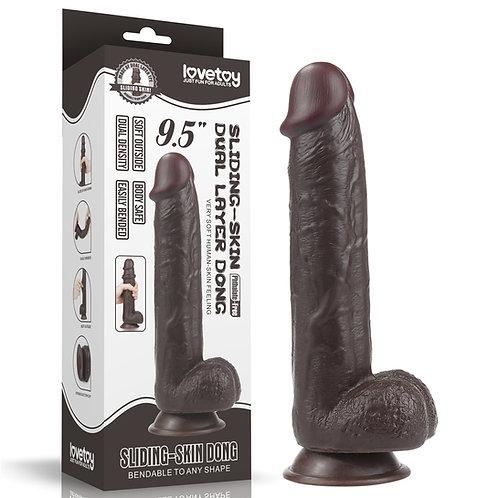 9.5'' Sliding Skin Dual Layer Dong - Black
