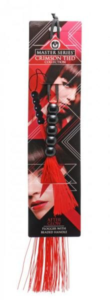 Crimson Tied Afterglow Rubber Flogger Beaded Handle