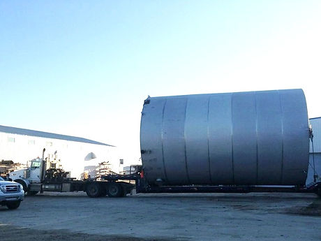 Loaded and hauled a 22 x 35' Stainless Liquid Fertilizer Storage Tank