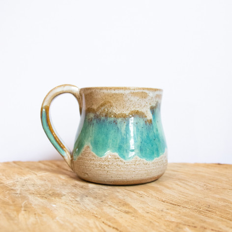 Blue and beige ceramic mug