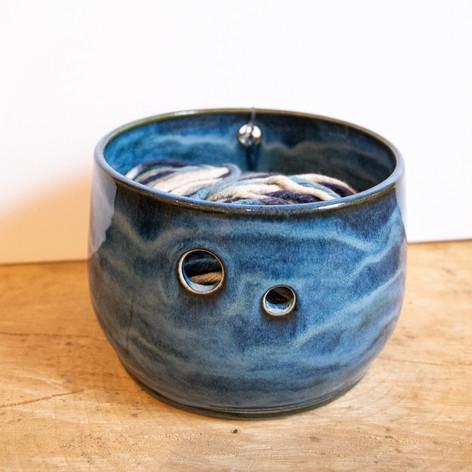 Small blue ceramic yarn bowl