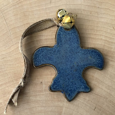 Blue fleur-de-lis ceramic ornament