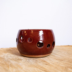 Small red ceramic yarn bowl