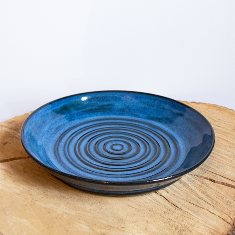 Blue ceramic serving plate