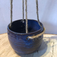 Blue hanging ceramic planter