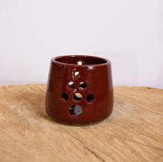 Red ceramic tree tea candle