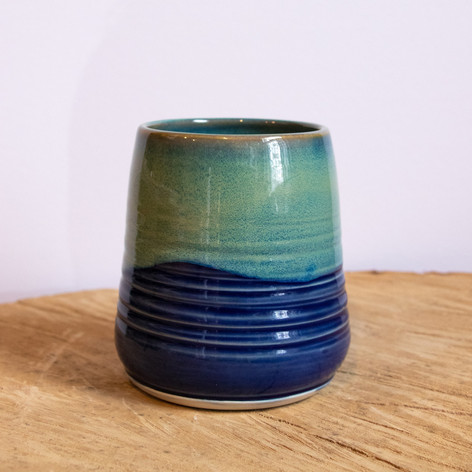 Blue and green small ceramic vase