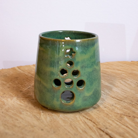 Green ceramic tree tea candle holder