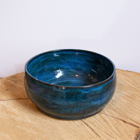 Small blue ceramic bowl