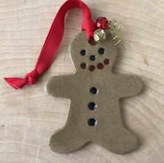 Gingerbread man ceramic ornament