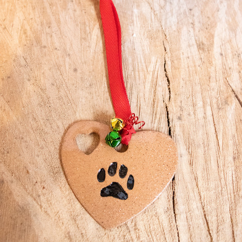 Dog paw ceramic ornament
