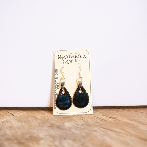 Black and turquoise ceramic teardrop earrings