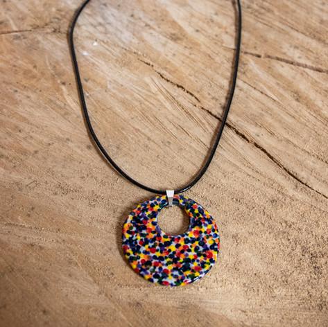 Multicoloured round ceramic pendant