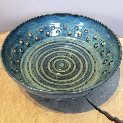 Large green and blue ceramic fruit bowl