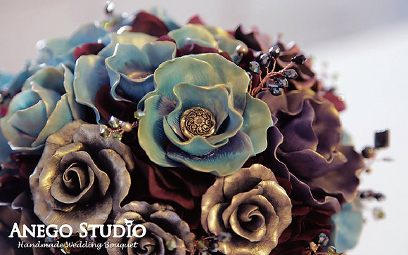 Leather flower handmade bouquet