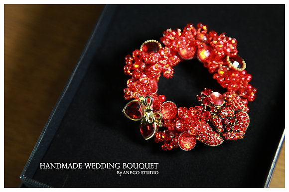 Red handmade jewelry boutonniere
