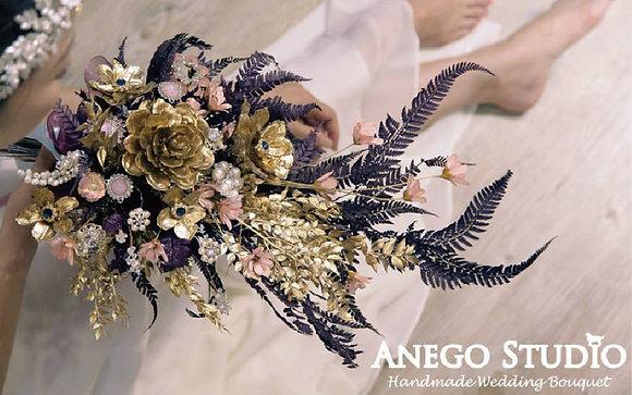 Golden pinecone handmade bouquet