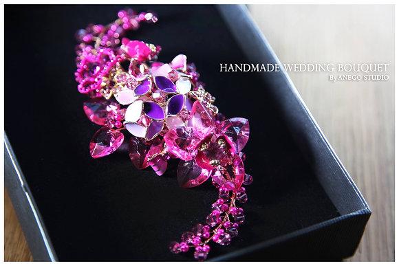 Pink handmade jewelry boutonniere
