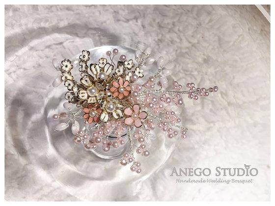 Light pink handmade jewelry boutonniere