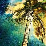 Un cielo brillante y una palmera dorada