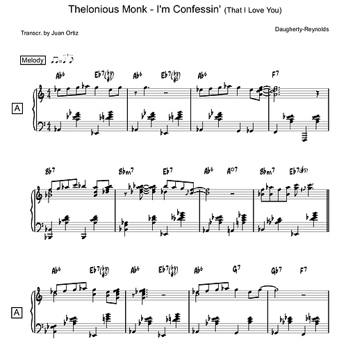 Thelonious Monk (Transcription) - I'm Confessin' (that I love you)