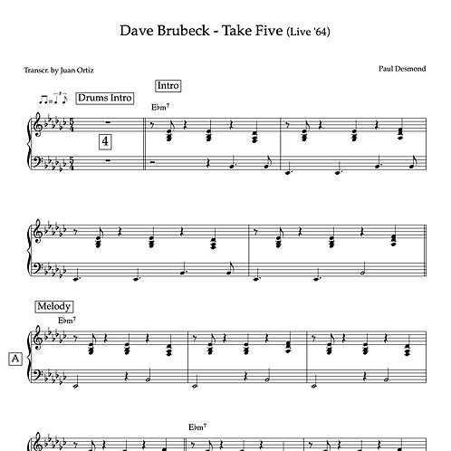 Dave Brubeck (Transcription) - Take Five (Live '64)