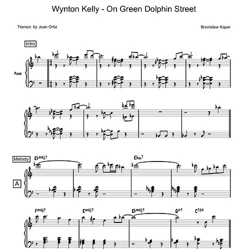 Wynton Kelly (Transcription) - On Green Dolphin Street