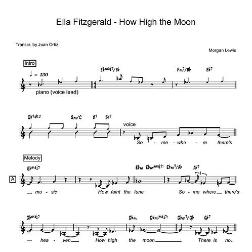 Ella Fitzgerald (Transcription) - How High the Moon