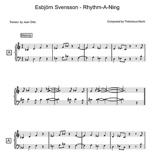 Esbjörn Svensson (Transcription) - Rhythm-A-Ning