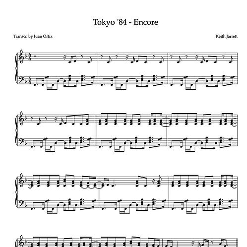 Keith Jarrett (Transcription) - Tokyo Encore '84