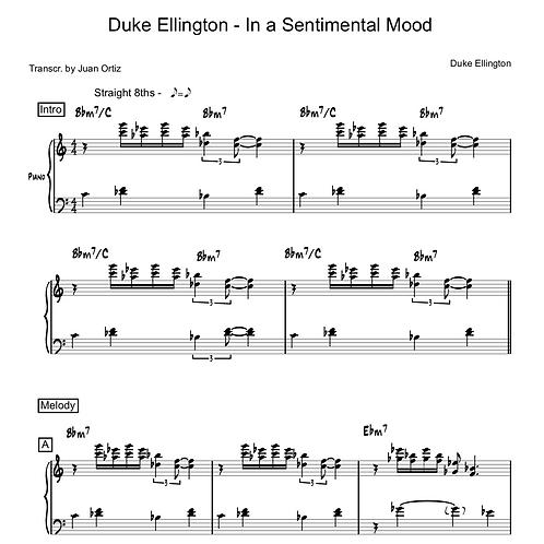 Duke Ellington (Transcription) - In a Sentimental Mood